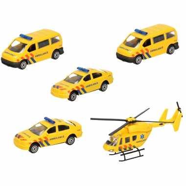 Ambulance wagens uitgebreide speelgoed set 5-delig die-cast