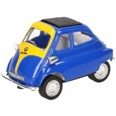 Modelauto bmw isetta blauw/geel 6,5 cm