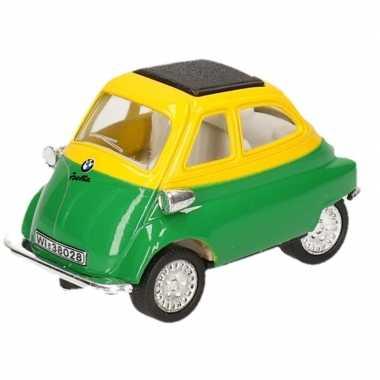 Modelauto bmw isetta groen geel 6 5 cm