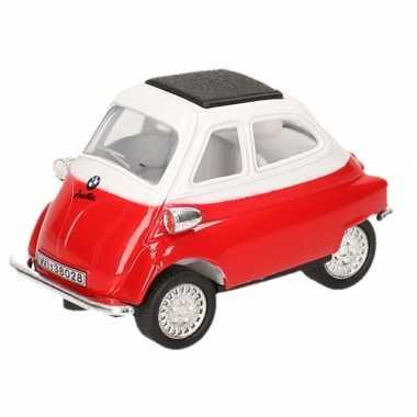 Modelauto bmw isetta rood/wit 6,5 cm