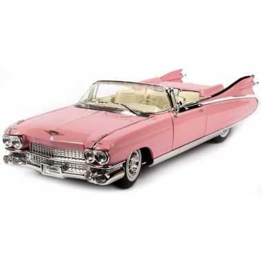 Modelauto cadillac eldorado roze 1 18