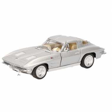 Modelauto chevrolet corvette zilver 13 cm