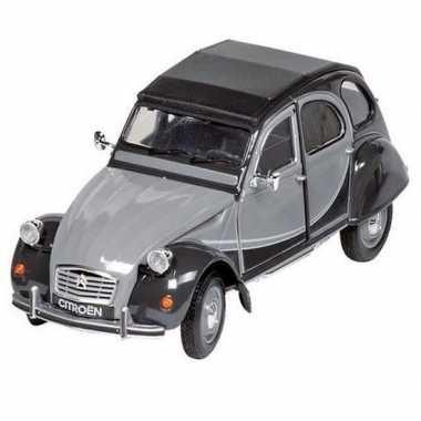 Modelauto citroen 2cv grijs zwart 16 2 cm
