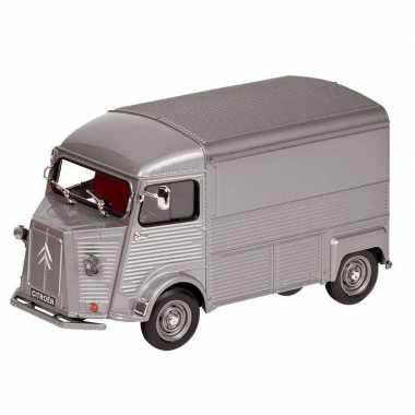 Modelauto citroen type h bestelwagen grijs 16 cm