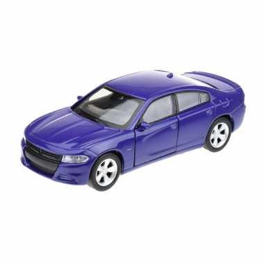 Modelauto dodge charger 2016 blauw 1 34