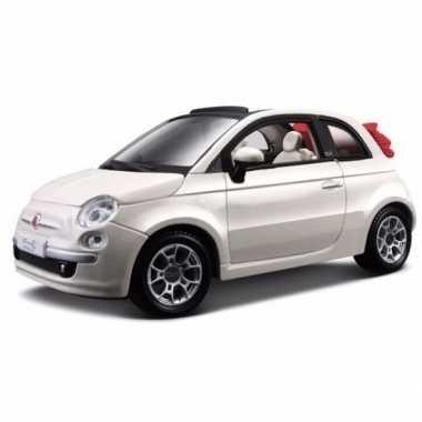 Modelauto fiat 500 cabrio wit 1:24