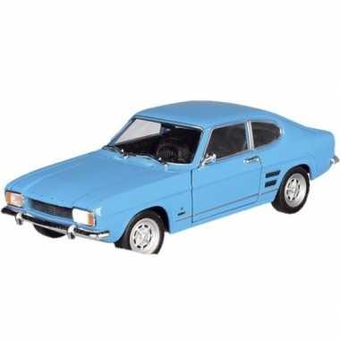 Modelauto ford capri 1969 blauw 17 5 cm