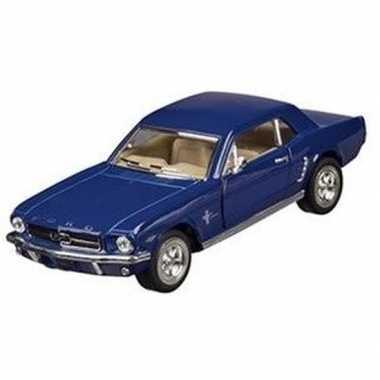 Modelauto ford mustang 1964 blauw 13 cm