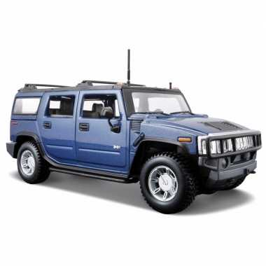 Modelauto hummer h2 blauw 1:24