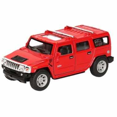 Modelauto hummer h2 suv rood 12 5 cm