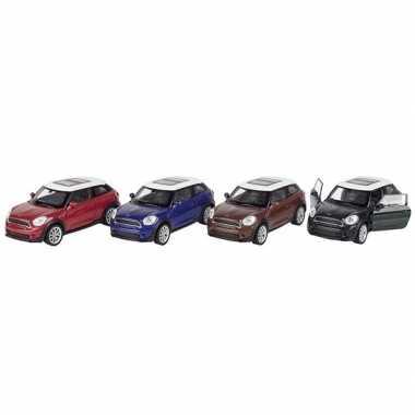 Modelauto mini cooper s paceman blauw 11 cm