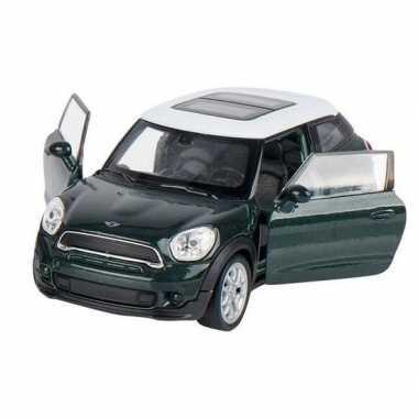 Modelauto mini cooper s paceman donkergroen 11 cm
