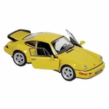 Modelauto porsche 964 carrera geel 1:34