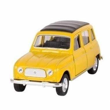 Modelauto renault 4 geel 11 cm
