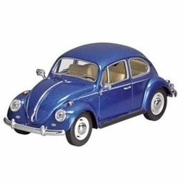 Modelauto volkswagen kever blauw 17 cm