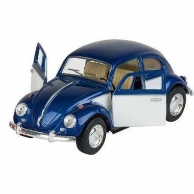 Modelauto volkswagen kever blauw/wit 13 cm