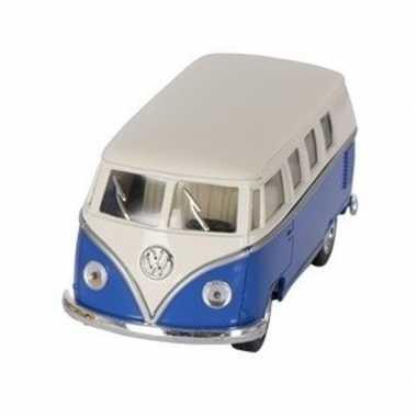Modelauto volkswagen t1 blauw/wit 13,5 cm