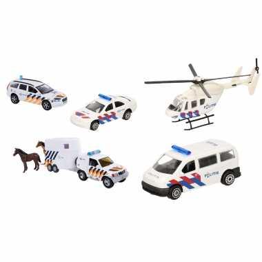 Politie wagens uitgebreide speelgoed set 5-delig die-cast