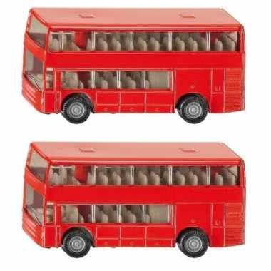 Set van 2x stuks siku dubbeldekker bussen speelgoed modelauto 10 cm