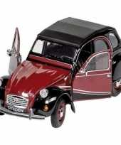 Modelauto citroen 2cv rood zwart 16 2 cm